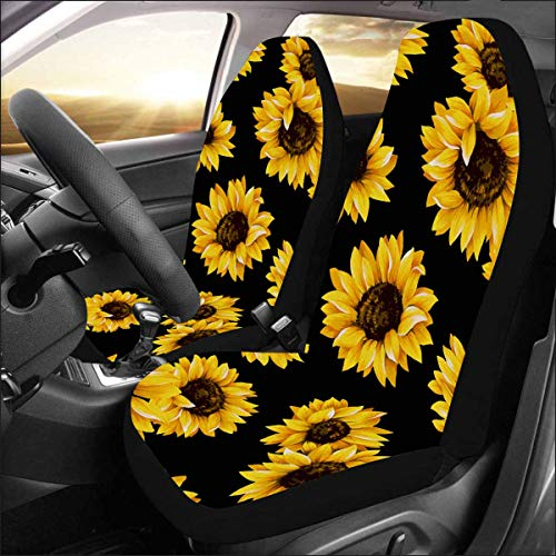 InterestPrint Universal Fit Custom Sunflower Pattern Protector Two Front Car Seat Covers Set -100% Breathable