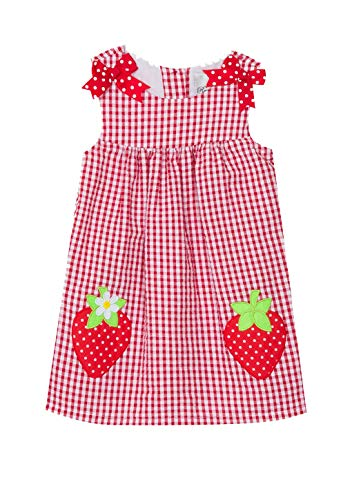 Rare Editions Red Gingham Seersucker Strawberry Dress (3m-24m) (12 Months)