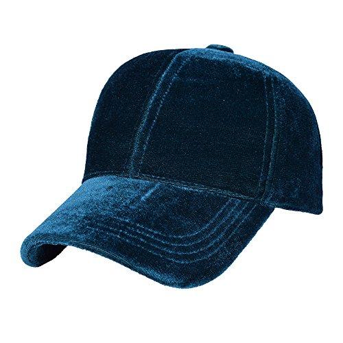 Price comparison product image Bangni Soft Snapback Velvet Baseball Cap 6 Panels Solid Adjustable Sports Hat Gem Green, One size 55-59cm