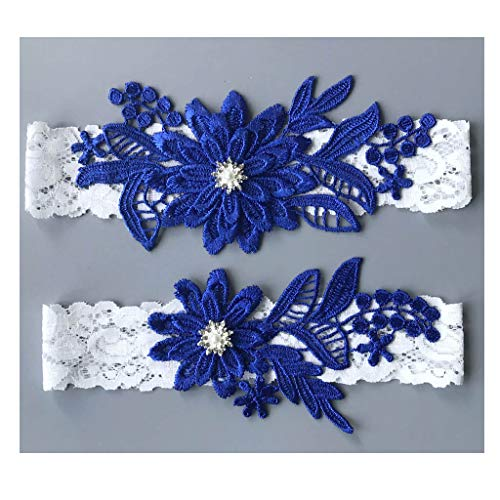 GARGALA Wedding Garters for Bride Bridal Lace Garter Set with Rhainestone Pearls (Royal Blue, Free)]()