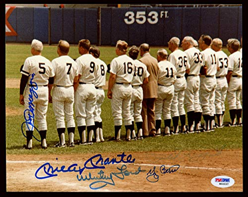 New York Yankees Legends Autographed 8x10 Photo With 5 Total Signatures Including Mickey Mantle, Joe DiMaggio & Yogi Berra #W00037 - PSA/DNA Certified