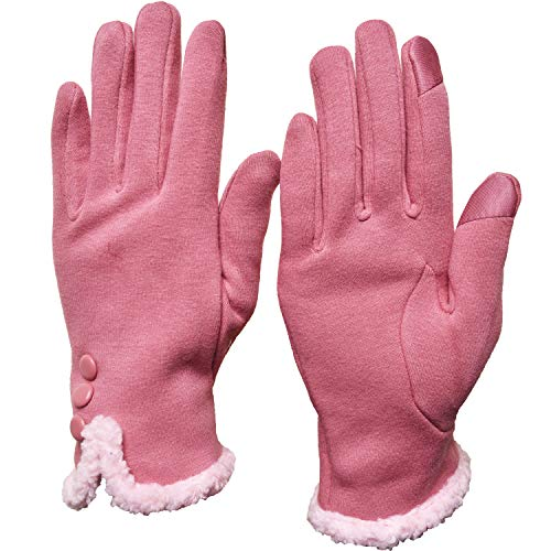 Woogwin Womens Fashion Touchscreen Gloves Winter Warm Fleece Lined Ladies Gloves(Fluff -pink) - Ladies Fleece Winter Glove
