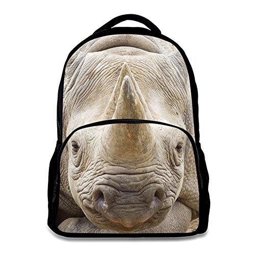 Animal School Bag Children's Age6-16 Polyester 17 Inch Laptop Backpack (Rhinoceros) ()