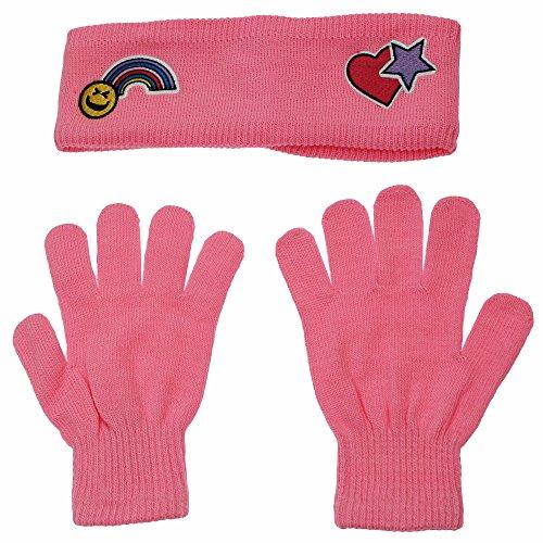 Nolan Girls Warm Winter Pink Emoji Rainbow Heart Star Headband Ear Band (Kids Earband)