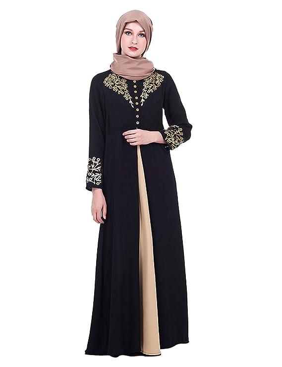 TAAMBAB Femmes Maxi Robe Longue Abaya Caftan Marocain - Kimonos Manches  Longues Jilbab Kaftan Islamique Musulman df352dea9ff