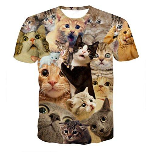 (Leedford Men's Tee, Boy Punk Tops 3D Print Kitty Cat Print Blouse Short Sleeve T-Shirt Top Blouse Plus Size for Summer (2XL, Yellow))