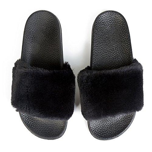 JINKUNL Womens Furry Slippers Open Toe Indoor Outdoor House Casual Flat Slides Sandals Black 7 B(M) US]()