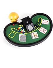 Perfect Life Ideas Desktop Miniature Blackjack Table Set with Mini Card Deck Poker Chips Accessories - Tabletop Vegas Casino Gambling Game for Men Women - Play Fun at Home Office Desk Top Anywhere