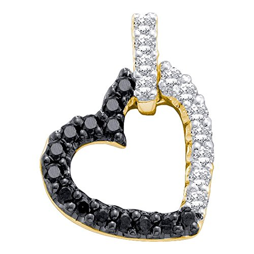- Roy Rose Jewelry 14K Yellow Gold Womens Round Black Color Enhanced Diamond Dangling Heart Pendant 1/3-Carat tw