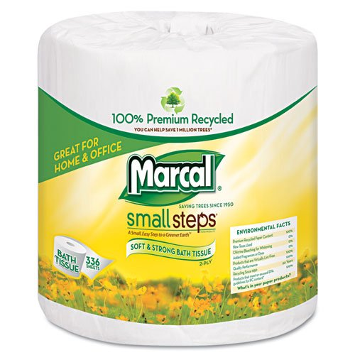 Marcal 6073 Small Steps 100% Recycled Two-Ply Bathroom Tissue, 2-Ply, 336 Sheets (Case of 48)