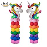 """Kwayi Balloon Arch. Unicorn Arch Kit 2 Sets 80"""" Height With 64Pcs Latex Balloons, Portable Column Base Decoration For Baby Shower/Birthday/Party/Celebration"""