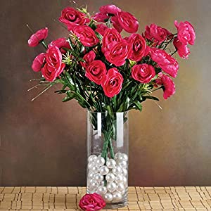 Efavormart 72 pcs Artificial Ranunculus Flowers for DIY Wedding Bouquets Centerpieces Party Home Decorations - 4 Bushes - Fuchsia 76