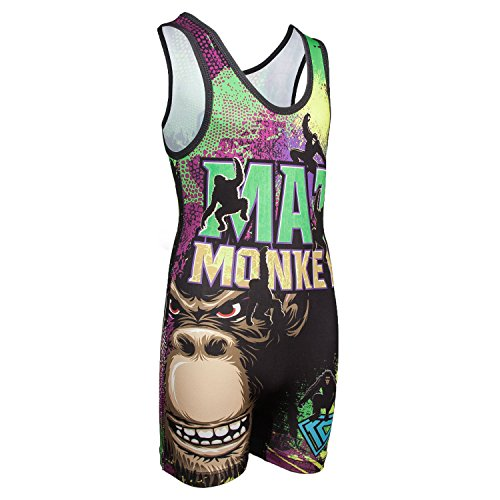 KO Sports Gear Wrestling Singlet by Mat Monkey - Fun, Affordable, Head Turning (Adult XS: 70-95 lbs) ()