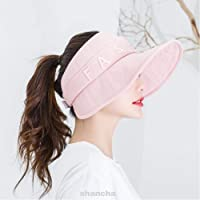 CHOUREN Adjustable Foldable Face Protection Summer Beach Magic Sticker Empty Open Top Embroidery Letters Wide Brim Women…