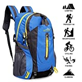 40L Lightweight Hiking Backpack, Baishiqi Multi-functional Water-resistant Casual Camping Trekking Rucksack for Cycling Travel Climbing Mountaineer Outdoor Sport - Blue