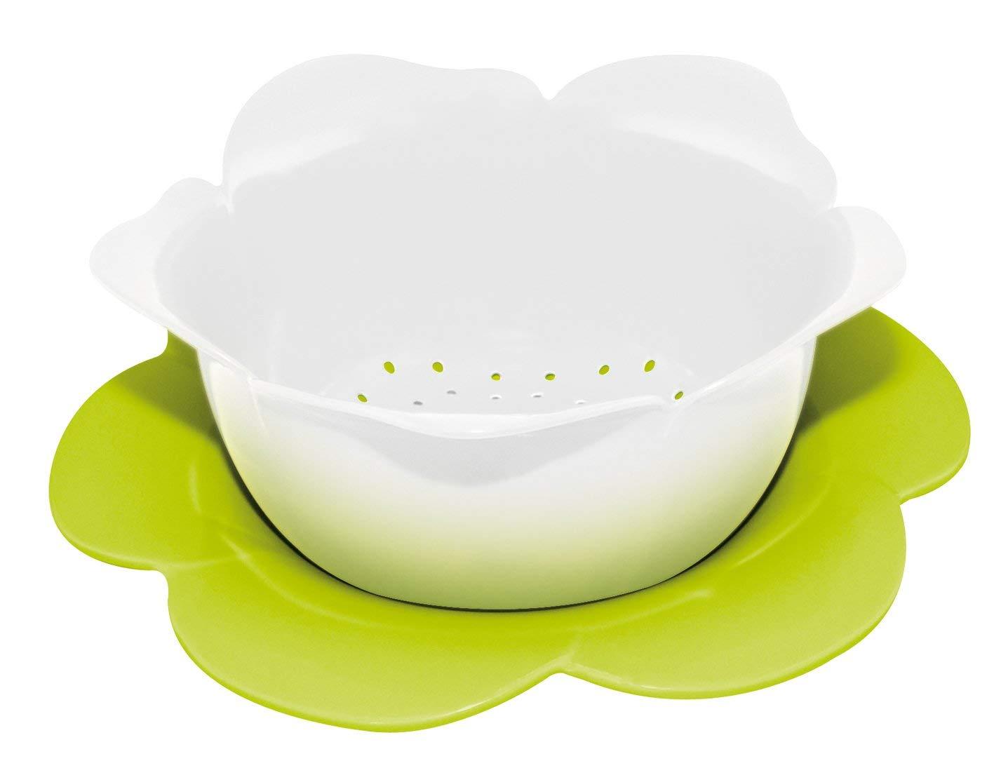 Zak Designs 1283-A850 color blanco y verde Mini escurridor en forma de flor, con platillo, de melamina, 16,5 cm