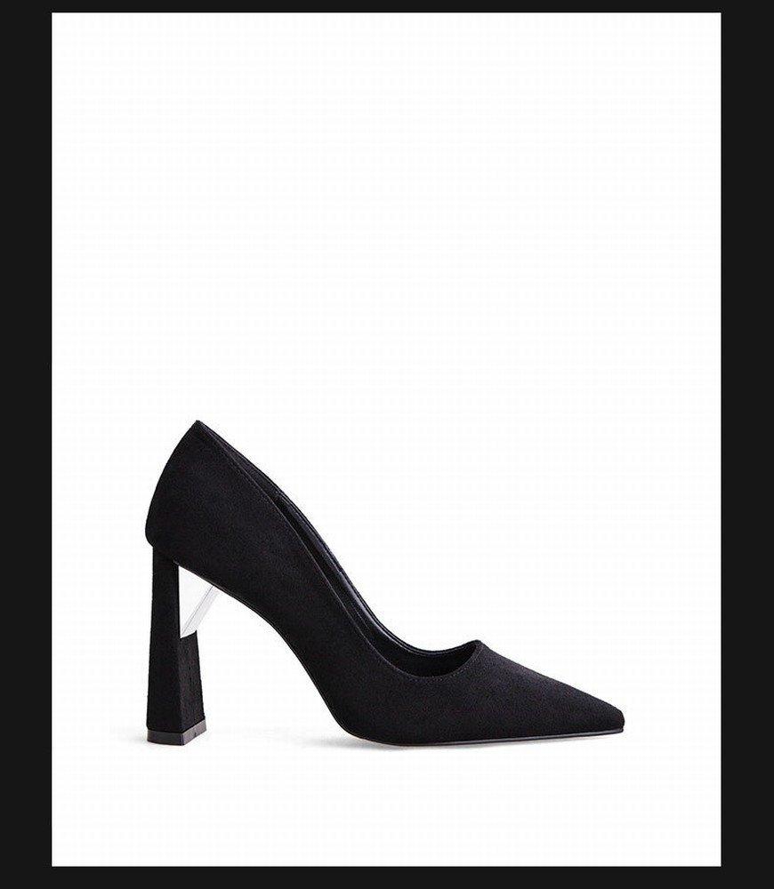SchuheES Professional OL Sexy Dick mit High Heels Wies Mode Schuhe Nachtclub Einfarbig Flachen Mund Schuhe Schwarz 39