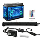 KAPATA Aquarium Fish Tank LED Lights with 24key Controller 16 Colors and 4 Color Changing Modes Air Bubble Lights 30CM/12inch