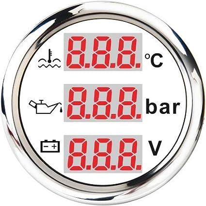 ELING 3-in-1 Multi-Functional Voltmeter Oil Pressure Water Temp Gauge 9-32V for Car Motorcycle Tractor Truck 2 BS