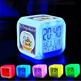 Alarm Clock 7 LED Color Changing Wake Up Bedroom with Data and Temperature ...