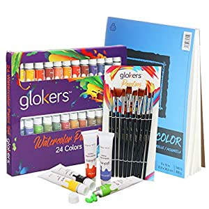 Premium Watercolor Paint Set by Glokers – Painting Art Kit for Adults, Beginners, or Advanced Students - Includes 24 Paint Tubes/Colors - 10 Professional Paintbrushes – XL Watercolor Pad