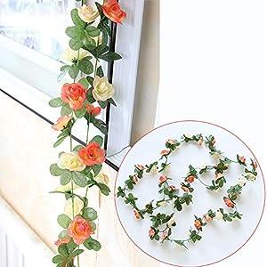 Rose Garland,3 Pcs Artificial Flowers Roses,Silk Hanging Plants Green Vintage Vine for Home Decor Wedding Orchids Arrangements Outside Office Birthday Party Garden Craft Art (Orange) 6