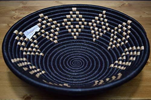 Handwoven African Basket - Decorative Woven Bowl - Sisal & Sweetgrass Basket Handmade in Rwanda ~11.5'' - Sand Tan, Black, RB212 ()