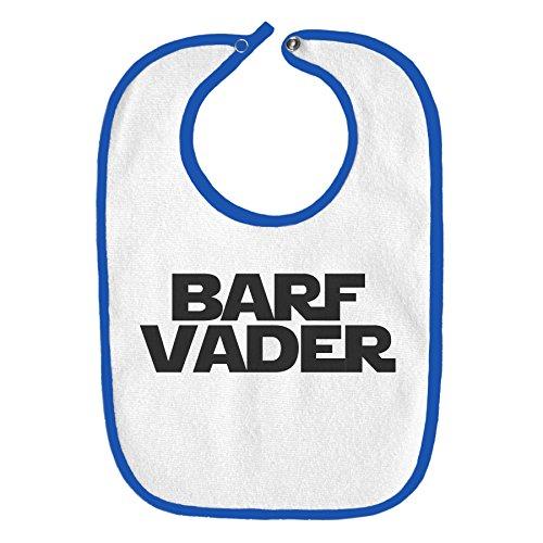 Barf Vader Star Wars Funny Parody Infant Baby Bib - White with Royal Blue - Royal Infant Bib Blue