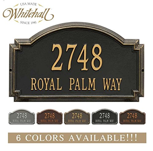Estate Marker Address Sign - Personalized Cast Metal Address plaque - The Williamsburg Estate. Display your address and street name. Custom house number sign.