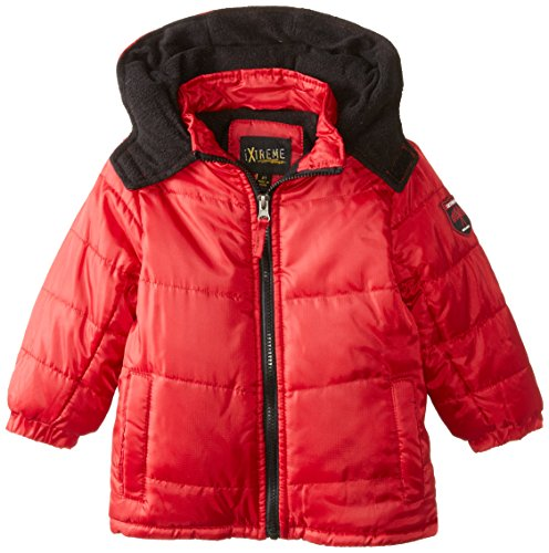 iXtreme Little Boys' Toddler Solid Ripstop Puffer, Red, 4T