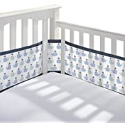 BreathableBaby | Breathable Mesh Printed Crib Liner | Doctor Endorsed | Helps Prevent Arms and Legs from Getting Stuck Between Crib Slats | Independently Tested for Safety | Little Whale Navy