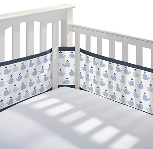 BreathableBaby | Breathable Mesh Printed Crib Liner | Doctor Endorsed | Helps Prevent Arms and Legs from Getting Stuck Between Crib Slats | Independently Tested for Safety | Little Whale (Navy Whale)