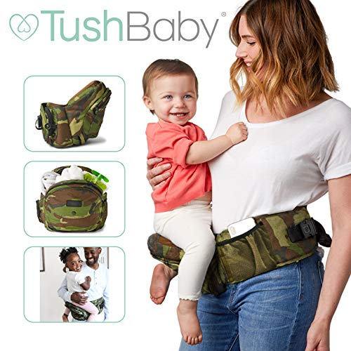 TushBaby The Only Safety Certified Hip Seat Baby Carrier - As Seen On Shark Tank - Adjustable, Machine Washable, Ergonomic Child + Infant + Toddler Carrier, Safe Ultra-Comfortable Waist Carrier Camo