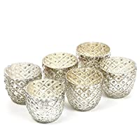 Hosley Set of 6 Metallic Antique Silver LED Glass Votive Tealight Candle Holder 2.75 Inch Diameter Ideal for Bridal Weddings Parties Special Events Spa Settings and Aromatherapy Mini Flower Pot O4