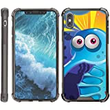 Compatible for Apple iPhone X Case   Apple iPhone 10 Case [Flexible Armor] Slim Fitted Flexible TPU Case Shock Bumper Cover with Smoke Edges Sea Ocean by TurtleArmor - Cute Blue Creature