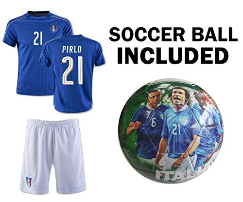 Italy Jersey Youth Pirlo #21 Kids Soccer Jersey + Shorts + ITALIA Football Size 5 Ball BEST GIFT Calcio Boys (YM 8-10 years, Jersey+Ball)