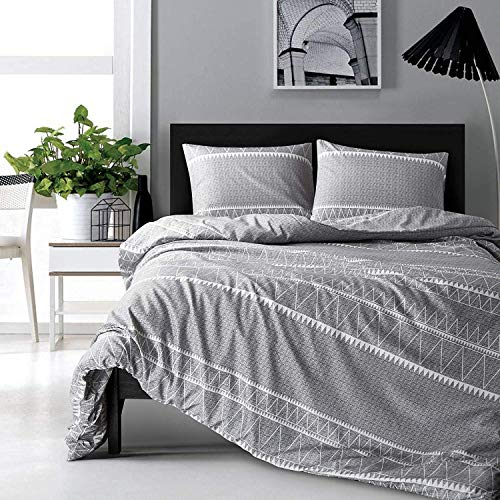 HYPREST Bohemian Queen Duvet Cover Set Lightweight Soft Grey Triangle 3PC Comforter Cover Set Hotel Quality (Queen) (Covers Duvet Patterned Grey)