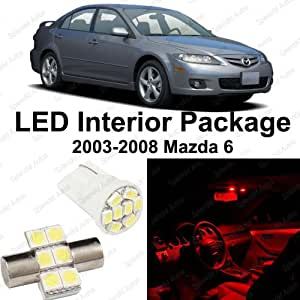 splendid auto brilliant red led mazda 6 interior package deal 2003 2008 8 pieces. Black Bedroom Furniture Sets. Home Design Ideas