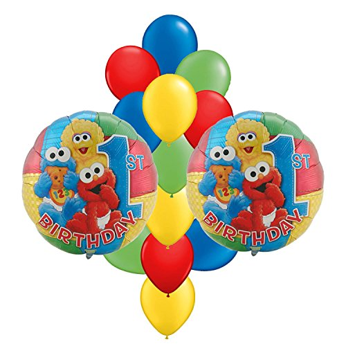 Sesame Street 1st Birthday Party Balloon Bouquet 14pc (Baby Sesame Street Party Supplies)