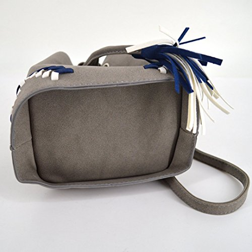 Crossbody Bucket Goodbag Bag Solid Tassel Boutique Bag Suede Gray Color Women Drawstring XX4gqz