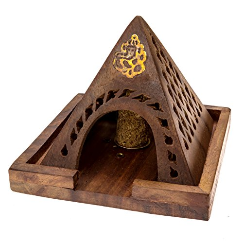 Alternative Imagination Ganesha Wooden Pyramid Incense Burner with Brass Inlay Design, for Incense Cones and Stick Incense Brass Inlay Stick Incense Burner