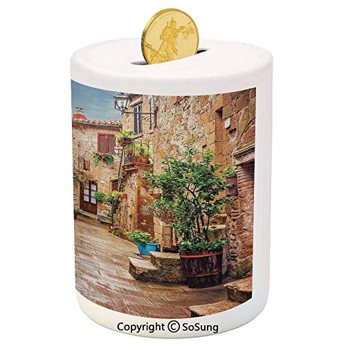 Tuscan Decor Ceramic Piggy Bank,View of an Old Mediterranean Street with Stone Rock Houses in Italian City Rural Culture Print 3D Printed Ceramic Coin Bank Money Box for Kids & - Old Iron Tuscan