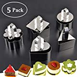 YOUDirect Stainless Steel Cake Molds - Set of 5 Dessert Cake Mousse Mold Mini Baking Mold with Pusher Cake Rings for Desserts Making, Silver