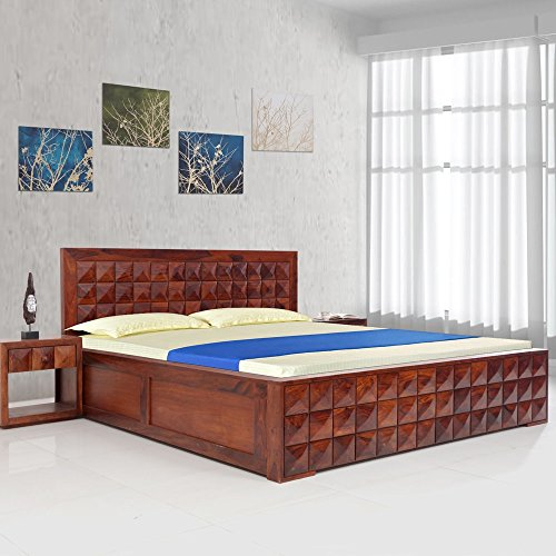 Evok Diamond King Size Bed with Storage  Honey Natural