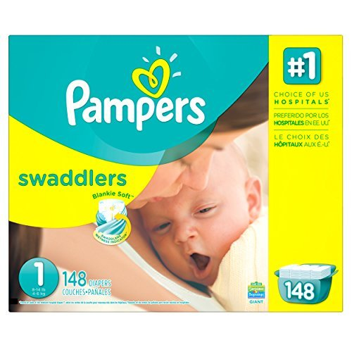 Pampers Swaddlers Diapers Size 1 Giant Pack 148 Count (Pack of 3)