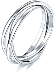 925 Sterling Silver Ring Triple Interlocked Rolling High Polish Tarnish Resistant Wedding Band Stackable Ring Size 8