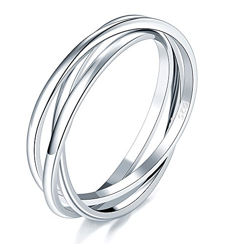 BORUO 925 Sterling Silver Ring Triple Interlocked Rolling High Polish Ring Size 8 Comfort Fit Platinum Earrings
