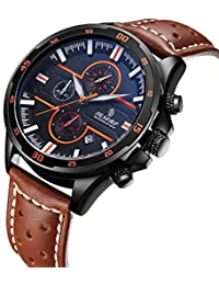 Watch,Mens Watches Classic Multifunction Fashion Waterproof Leather Calendar Chronograph Wrist Watch