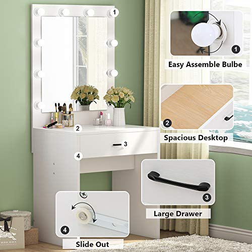 Tribesigns Vanity Set with Lighted Mirror, Makeup Vanity Dressing Table Dresser Desk with Large Drawer for Bedroom,White (10 Cool LED Bulbs)