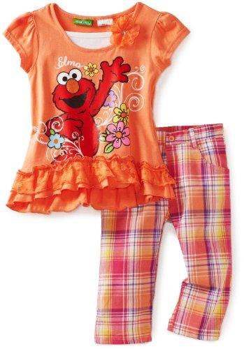 Sesame Street Elmo Plaid Girls Capri Set - Toddler
